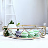 "14"" x 9"" Gold Metal Geometric Serving Tray 