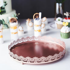 12inch Plastic Round Premium Decorative Serving Tray With Embellished Rims - Rose Gold | Blush