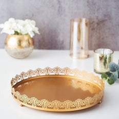 12inch Gold Plastic Round Premium Decorative Serving Tray With Embellished Rims