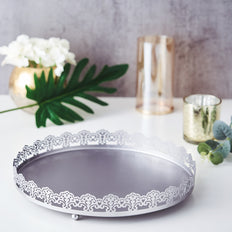12inch Silver Plastic Round Premium Decorative Serving Tray With Embellished Rims