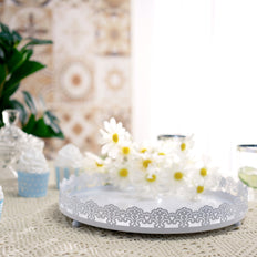 12 inch White Plastic Round Premium Decorative Serving Tray With Embellished Rims