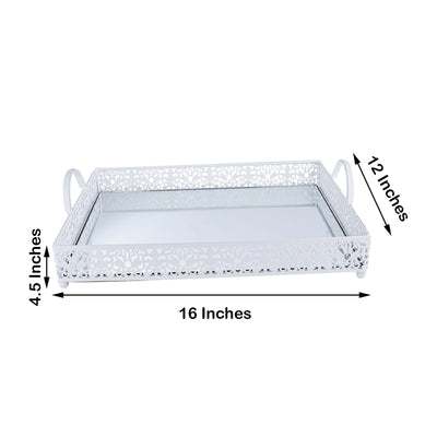 Fleur De Lis Metal Decorative Serving Trays with Handles, Rectangle Mirrored Vanity Trays