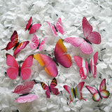 12 Pack 3D Butterfly Wall Decals Stickers DIY – Pink Collection