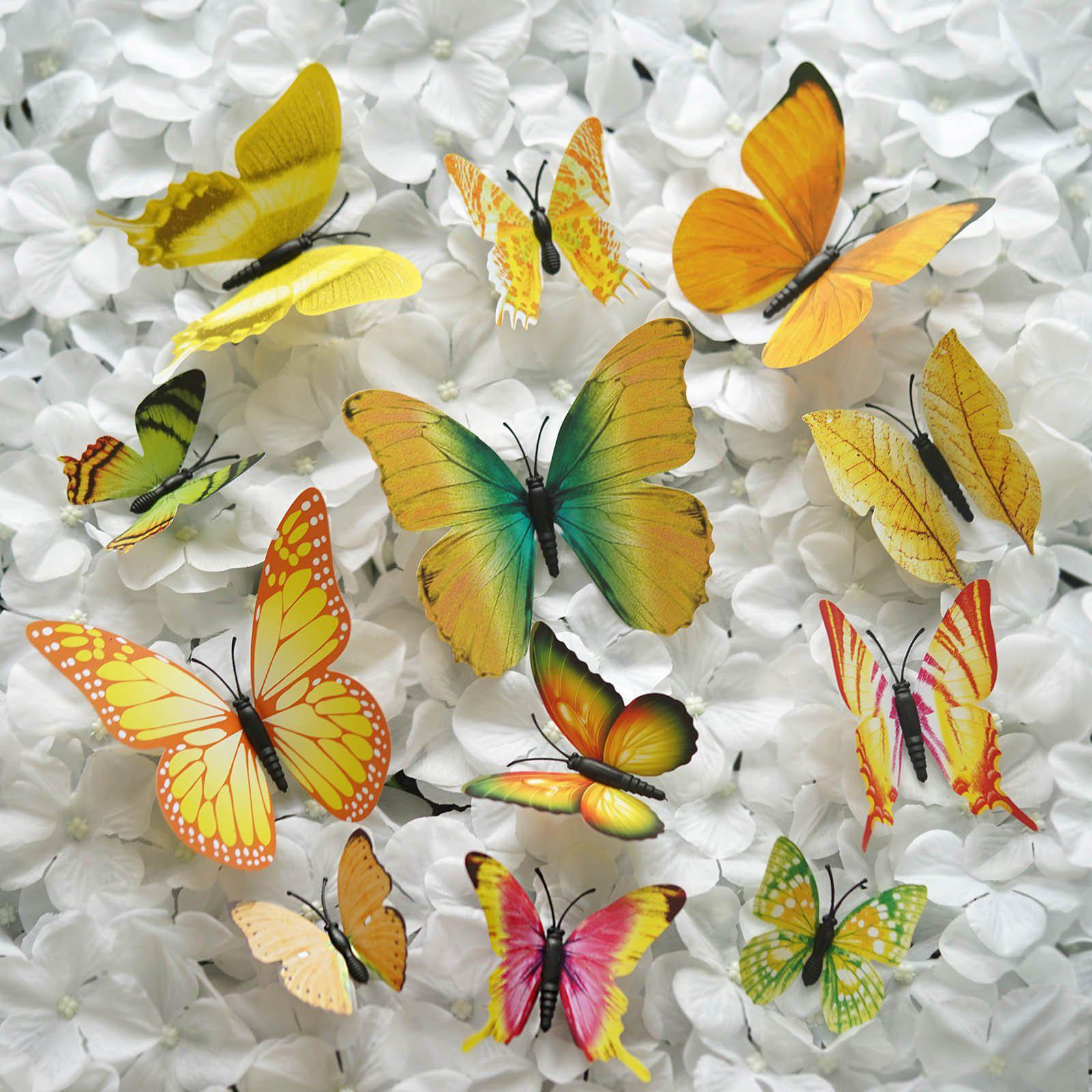 12 Pack 3D Butterfly Living Room Wall Decals Stickers DIY – Yellow ...