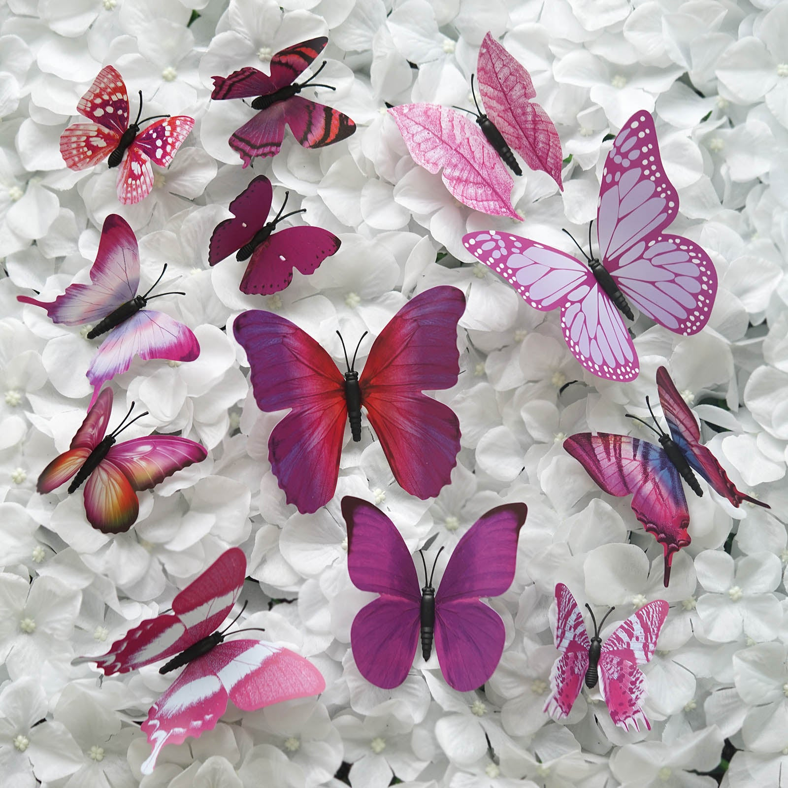 12 Pack 3d Butterfly Living Room Wall Decals Stickers Diy Purple