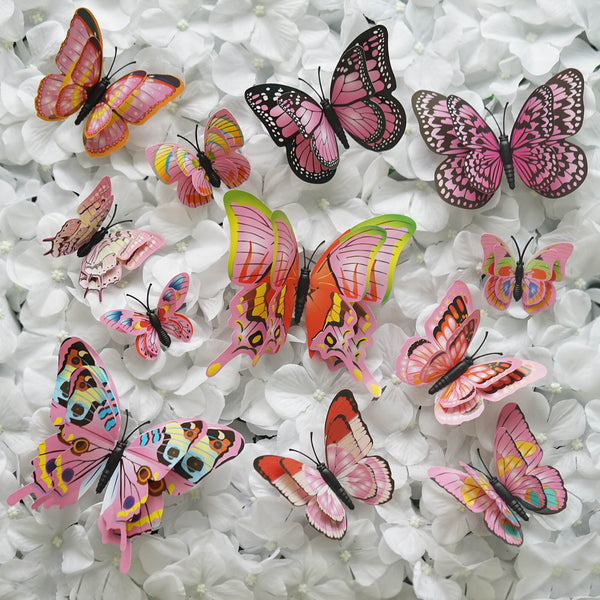 12 Pack Double Wing 3D Butterfly Wall Decals Stickers DIY - Pastel Pink Collection