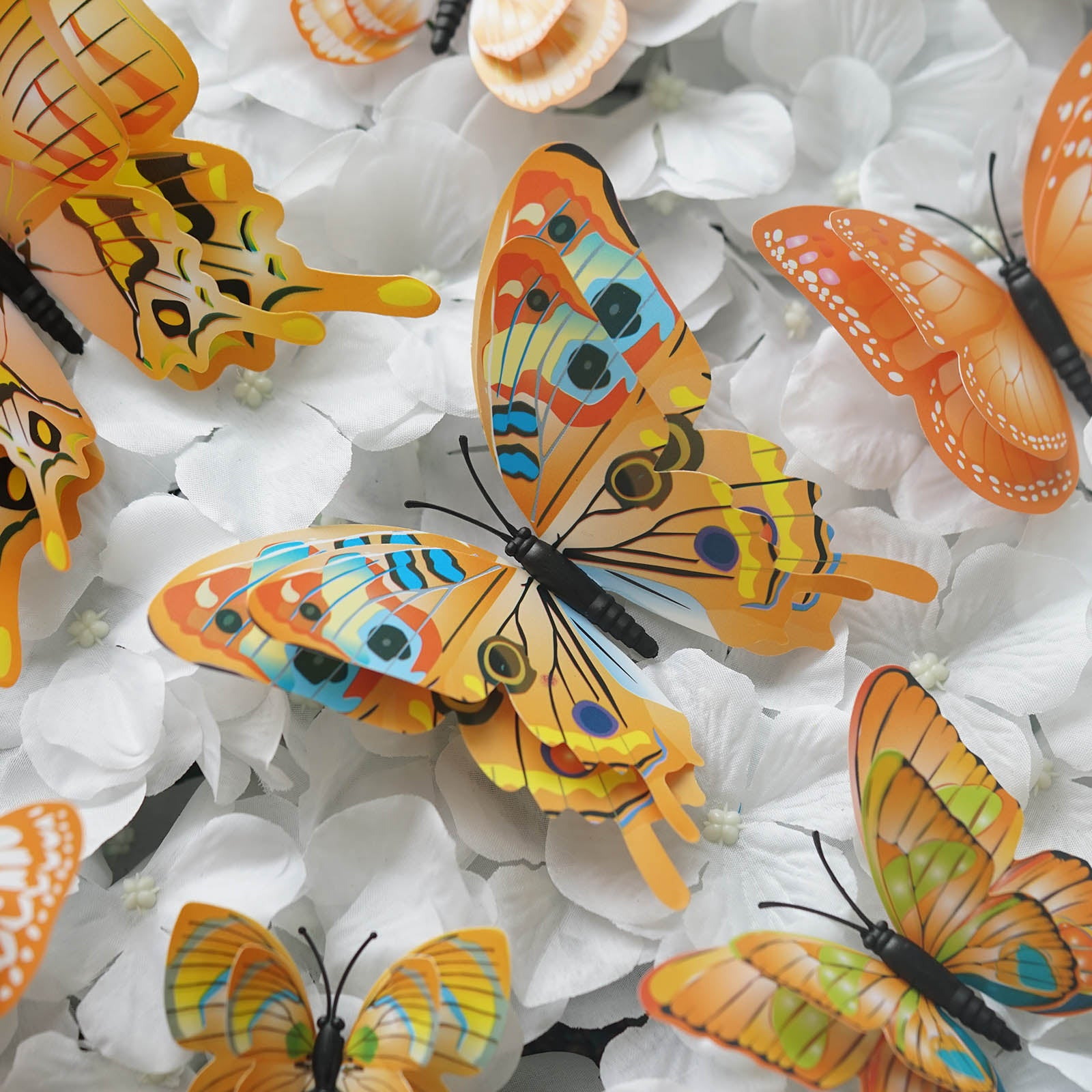 12 Pack Double Wing 3d Butterfly Wall Decals Stickers Diy Orange Collection Tableclothsfactory