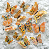 12 Pack Double Wing 3D Butterfly Wall Decals Stickers DIY - Orange Collection
