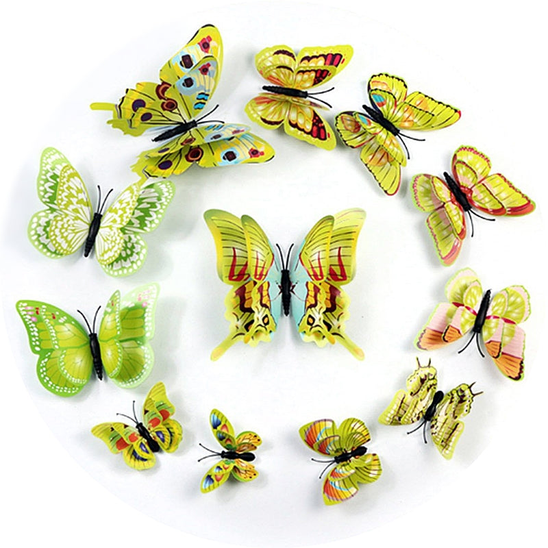 12 Pack 3D Double Wing DIY Butterfly Wall Decoration Stickers ...
