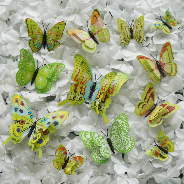12 Pack Double Wing 3D Butterfly Wall Decals Stickers DIY - Light Green Collection