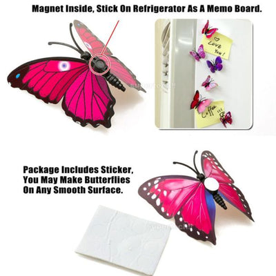 12 Pack Double Wing 3D Butterfly Wall Decals Stickers DIY - Fall Collection