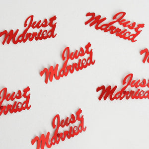 Metallic Foil Wedding-Party Just Married Confetti - 300 PCS- Red