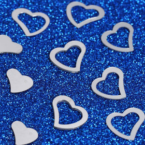 Metallic Foil Wedding-Party Heart Confetti - 300 PCS- Silver