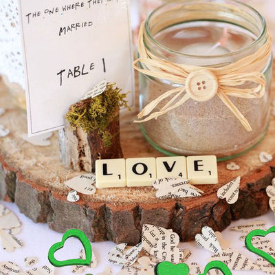 300 PCS Green Metallic Foil Heart Confetti