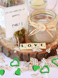 300 PCS Emerald Metallic Foil Heart Confetti