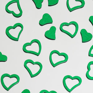 Metallic Foil Wedding-Party Heart Confetti - 300 PCS- Green