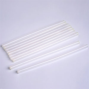 10 pcs Clear Glitter Hot Melt Glue Sticks - 11mm x 10""
