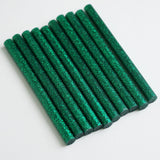 "10 Pack | 7mm x 4"" Green Glitter Hot Melt Glue Sticks"