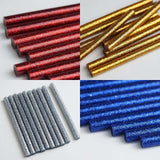 "10 Pack | 7mm x 4"" Royal Blue Glitter Hot Melt Glue Sticks"