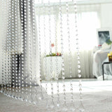 36 Sq Ft Crystal 1.2 cm Octagon Diamond Beaded Curtain with Bendable Metal Rod and Adjustable Hooks