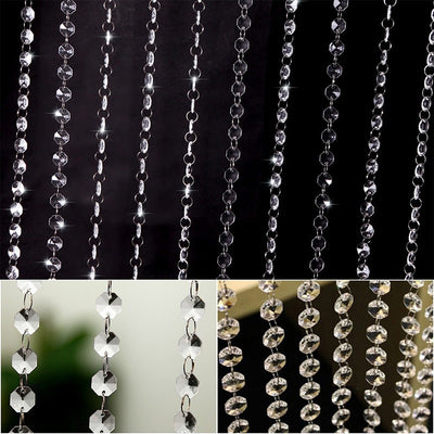 60 Sq Ft Crystal 1.2 cm Octagon Diamond Premium Beaded Curtain with Bendable Metal Rod and Adjustable Hooks