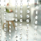 24 Sq Ft Crystal 1.2 cm Octagon Diamond Iridescent Beaded Curtain with Metal Rod and Adjustable Hooks