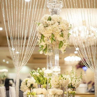 Clear Crystal Strand Decorative Wedding Party Curtain Backdrop - 20FT x 3FT with Metal Rod Top