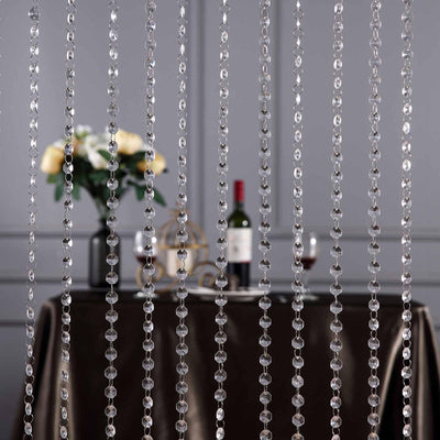 24 Sq Ft Crystal 1.2 cm Octagon Diamond Beaded Curtain with Metal Rod and Adjustable Hooks