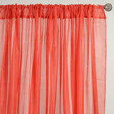 Set Of 2 Coral Fire Retardant Sheer Organza Premium Curtain Panel Backdrops With Rod Pockets - 5FTx10FT