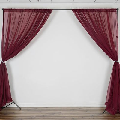 Set Of 2 Burgundy Fire Retardant Sheer Organza Premium Curtain Panel Backdrops With Rod Pockets - 5FTx10FT