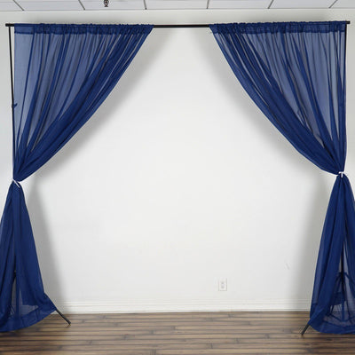 Pack of 2 | 5FTx10FT Navy Fire Retardant Sheer Organza Premium Curtain Panel Backdrops With Rod Pockets