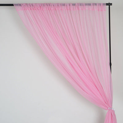 Set Of 2 Pink Fire Retardant Sheer Organza Premium Curtain Panel Backdrops With Rod Pockets - 5FTx10FT