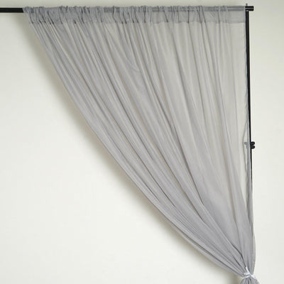 10FT Fire Retardant Silver Sheer Voil Curtain Panel Backdrop - Premium Collection