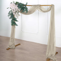 18Ft | Natural Sheer Organza Curtain Panels, Window Scarf Valance Wedding Arch Draping Fabric