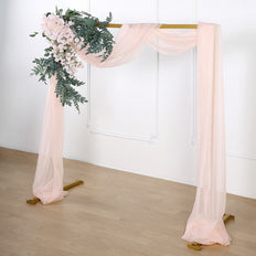 18Ft | Sheer Organza Curtain Panels, Window Scarf Valance Wedding Arch Draping Fabric - Blush | Rose Gold