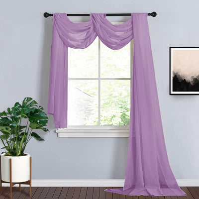 18Ft | Violet Amethyst Sheer Organza Curtain Panels, Window Scarf Valance Wedding Arch Draping Fabric