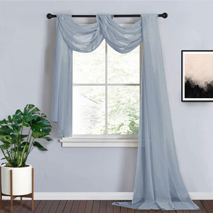 18Ft | Dusty Blue Sheer Organza Curtain Panels, Window Scarf Valance Wedding Arch Draping Fabric