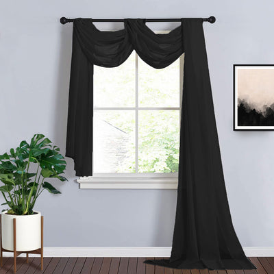 18Ft | Black Sheer Organza Curtain Panels, Window Scarf Valance Wedding Arch Draping Fabric