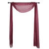 18Ft | Burgundy Sheer Organza Curtain Panels, Window Scarf Valance Wedding Arch Draping Fabric