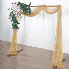 18Ft | Champagne Sheer Organza Curtain Panels, Window Scarf Valance Wedding Arch Draping Fabric