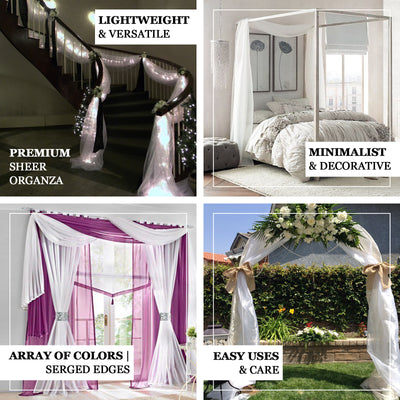 18Ft | White Sheer Organza Curtain Panels, Window Scarf Valance Wedding Arch Draping Fabric