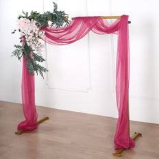18Ft | Fushia Sheer Organza Curtain Panels, Window Scarf Valance Wedding Arch Draping Fabric