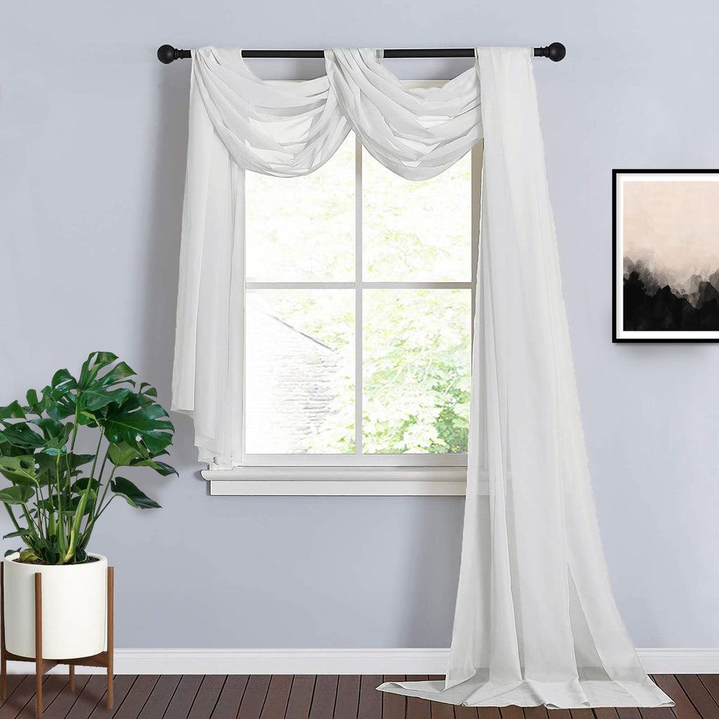 18Ft | Ivory Sheer Organza Curtain Panels, Window Scarf Valance Wedding  Arch Draping Fabric | TableclothsFactory