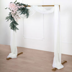 18Ft | Ivory Sheer Organza Curtain Panels, Window Scarf Valance Wedding Arch Draping Fabric