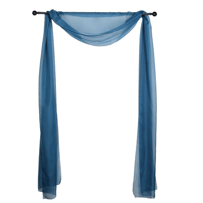 18Ft | Navy Blue Sheer Organza Curtain Panels, Window Scarf Valance Wedding Arch Draping Fabric