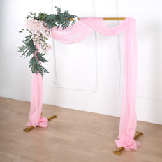 18Ft | Pink Sheer Organza Curtain Panels, Window Scarf Valance Wedding Arch Draping Fabric