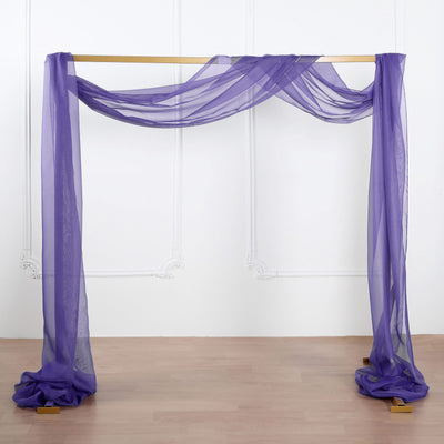 18Ft | Purple Sheer Organza Curtain Panels, Window Scarf Valance Wedding Arch Draping Fabric
