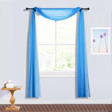 18Ft | Royal Blue Sheer Organza Curtain Panels, Window Scarf Valance Wedding Arch Draping Fabric