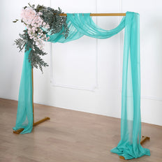 18Ft | Turquoise Sheer Organza Curtain Panels, Window Scarf Valance Wedding Arch Draping Fabric