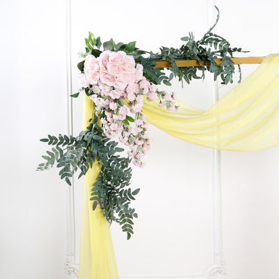 18Ft | Yellow Sheer Organza Curtain Panels, Window Scarf Valance Wedding Arch Draping Fabric